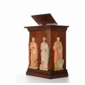 Atriles con columna: Ambón tallado a mano 4 Evangelistas en relieve 130x90x45cm