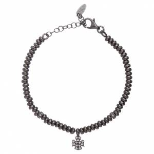 AMEN bracelets: AMEN 925 sterling silver bracelet finished in black rhodium with an angel insert