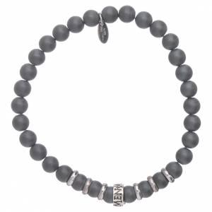AMEN 925 sterling silver bracelet with 5 mm hematite spheres s1