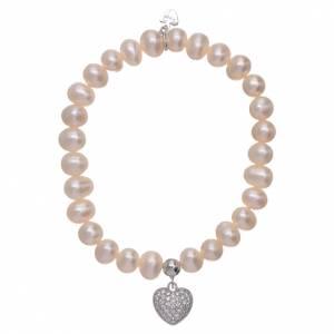 AMEN bracelets: AMEN 925 sterling silver bracelet with a pendant heart and zircons