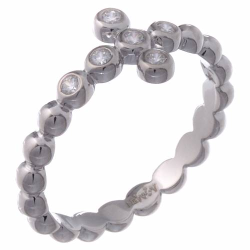 AMEN Beads Ring White silver 925, white zircons s1