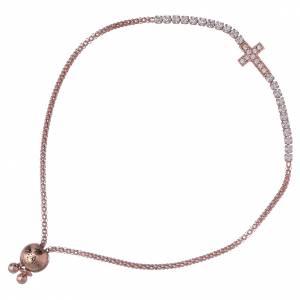 AMEN bracelets: AMEN black 925 sterling silver bracelet finished in rhodium with zircons