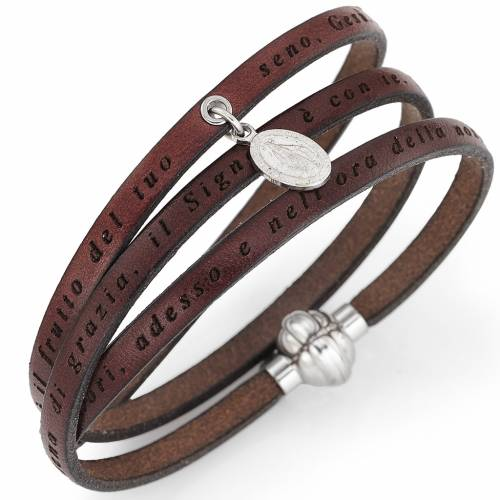 Amen bracelet, Hail Mary in Italian, brown with charm of Our Lad s1