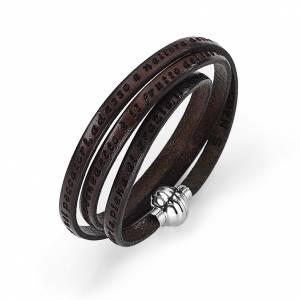 AMEN bracelets: Amen Bracelet in brown leather Hail Mary ITA
