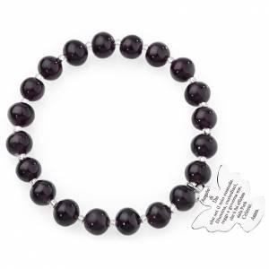 Amen bracelet in dark purple Murano beads 8mm, sterling silver s1