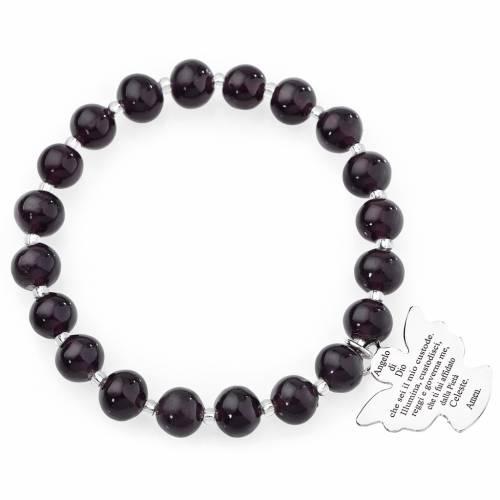 Amen bracelet in dark purple Murano beads 8mm, sterling silver 1