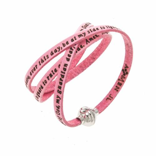 Amen Bracelet in pink leather Guardian Angel ENG s1