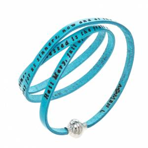 Amen Bracelet in turquoise leather Hail Mary ENG s1