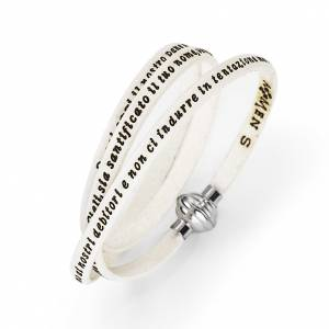 AMEN bracelets: Amen Bracelet in white leather Our Father ITA