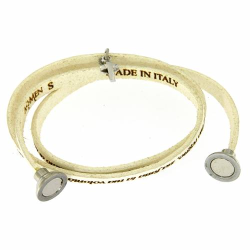 Amen bracelet, Our Father in Italian, white with cross charm s2