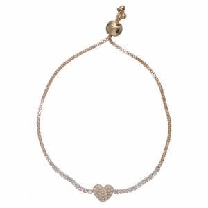 AMEN bracelets: AMEN golden 925 sterling silver bracelet finished in rhodium with a white zircon heart