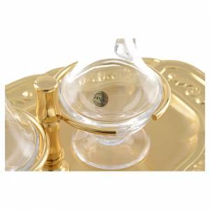 Ampolline vetro piattino ottone dorato s4