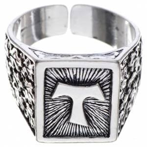 Articoli vescovili: Anello episcopale argento 800 brunito tau