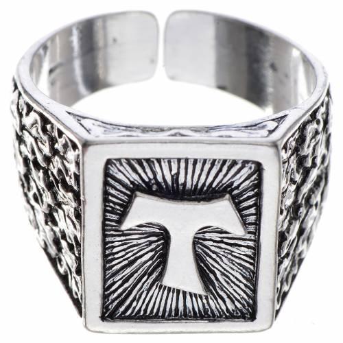 Anello episcopale argento 800 brunito tau s1