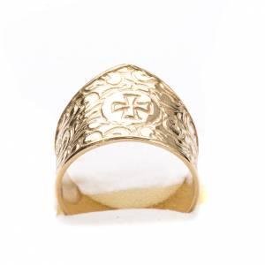 Anello per vescovi argento 800 dorato croce s5