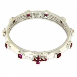 Anello rosario AMEN argento 925 zirconi rossi Rodio s2
