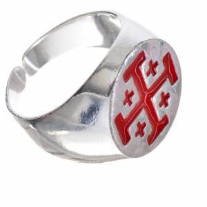 Anello vescovo argento 800 croce Jerusalem smalto rosso s2