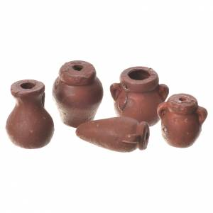 Accessori presepe per casa: Anfore assortite presepe 5 pz terracotta