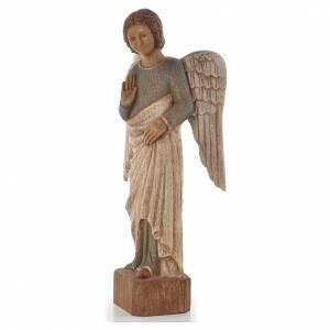 Ange au Sourire de Reims 39 cm legno finitura antica s2