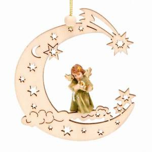 Christmas tree ornaments in wood and pvc: Angel with moon and stars
