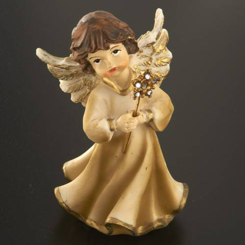 Angels in resin with flower, 4 pieces 12cm s5