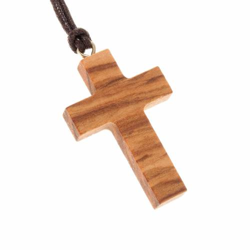 Anhänger klassischer Kreuz aus Olivenholz s1