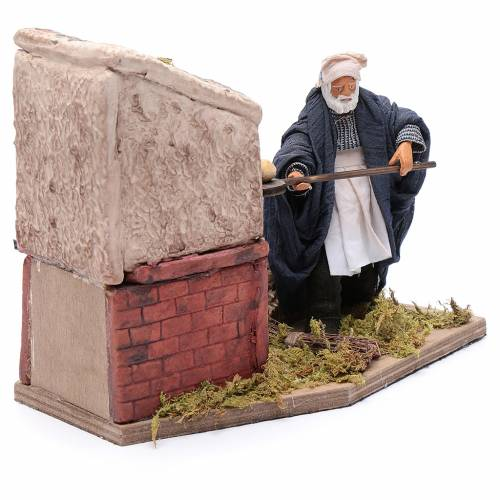 Animated nativity scene figurine, baker 12 cm s3