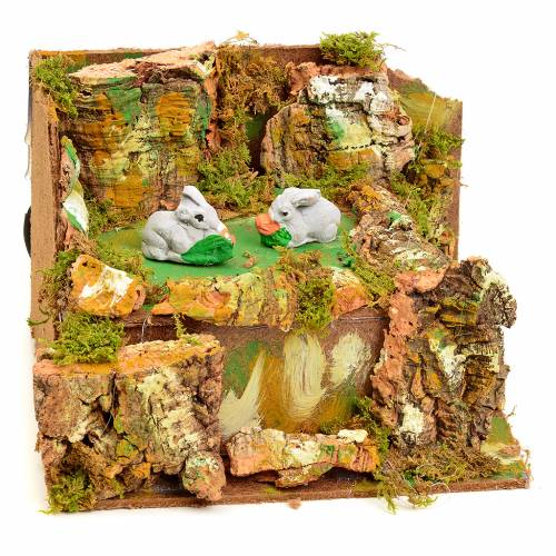 Animated nativity scene figurine, 2 rabbits, 8cm s2