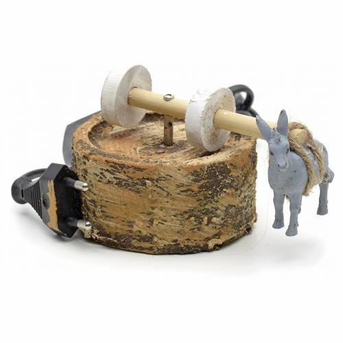 Animated nativity scene figurine, grindstone with donkey 12cm s1