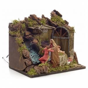 Animated Nativity scene figurine, laundress, 12 cm s2