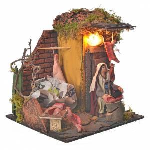 Animated Neapolitan nativity figurine, butcher 10cm s2