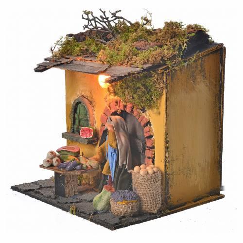 Animated Neapolitan nativity figurine, greengrocer 10cm s3
