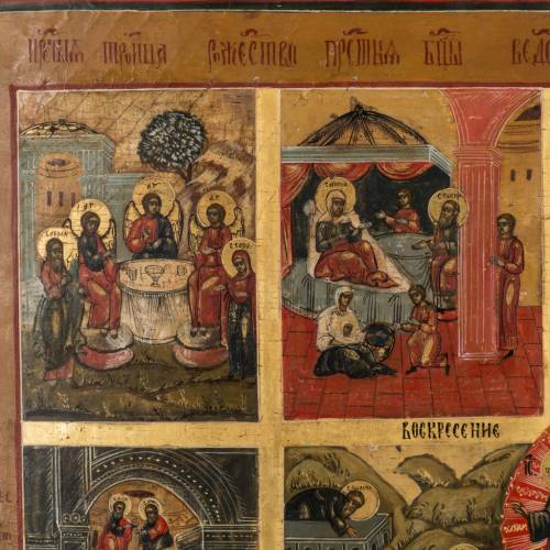 Antique Russian icon of the Twelve Great Feasts 19th century s2