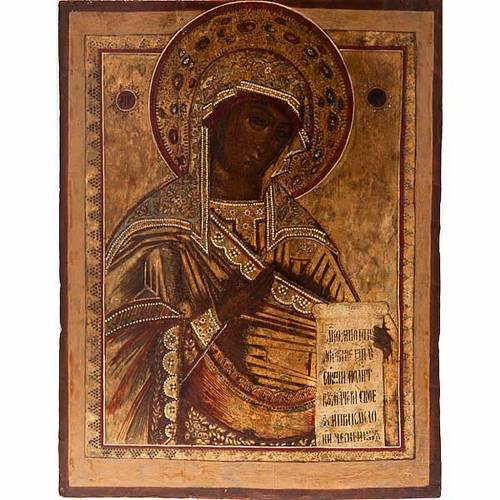 Antique Russian icon, Our Lady of Deesis XVIII century s1