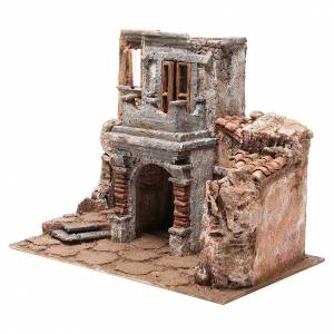 Antique Village with hut for nativity 35x38x25cm s2