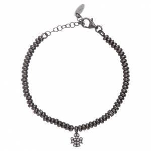 Armbänder AMEN: Armband AMEN schwarzen Silber 925 Perlen und Engel Anhänger