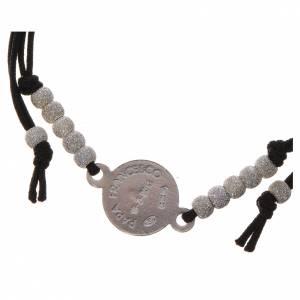 Silber Armbänder: Armband Papst Franziskus Silber 800 schwarzem Band
