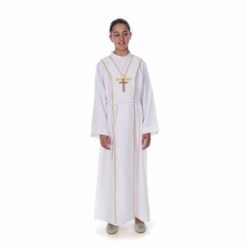 Aube communion scapulaire brodé s1