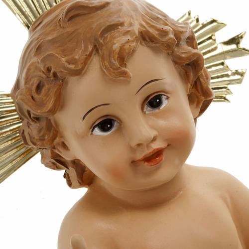 Baby Jesus in resin with halo of rays 18cm s2
