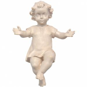 Baby Jesus with clothes in Valgardena wood, natural wax finish s1