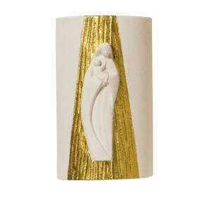 Bajorrelieves surtidos: Bajorrelieve blanca María dorada con rayos 17.5 cm.