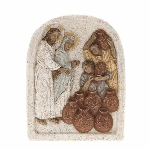 Bajorrelieve de piedra de la boda de Caná Bethléem s1