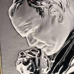 Bajorrelieve de plata Beato Juan Pablo en oración s2