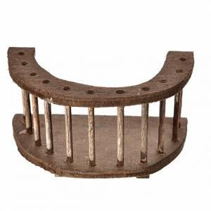 Balcone tondo legno presepe 6,5x3,5x6,5 cm s1