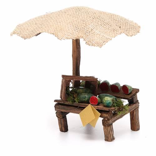 Banc crèche avec parasol et pastèques 16x10x12 cm s2