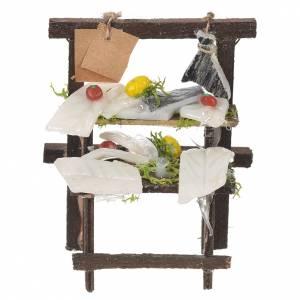 Aliments en miniature: Banc morue séchée cire crèche 8,5x6x4 cm