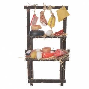 Cibo in miniatura presepe: Banchetto del salumiere in cera 13,5x8x5,5