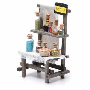 Casas, ambientaciones y tiendas: Banco de la farmacia con latas cristal belén 15x10x5