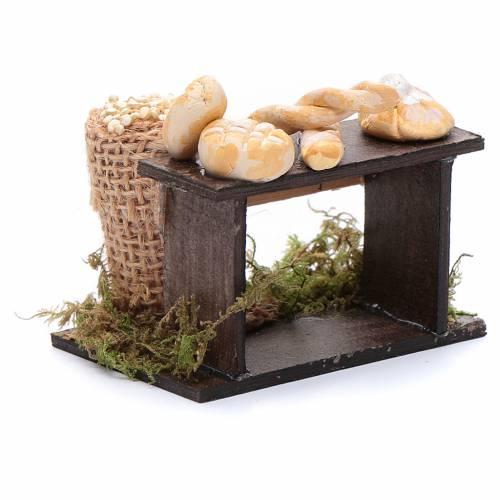 Banco di pane e sacco di legumi 5x5x5 cm presepe napoletano s3