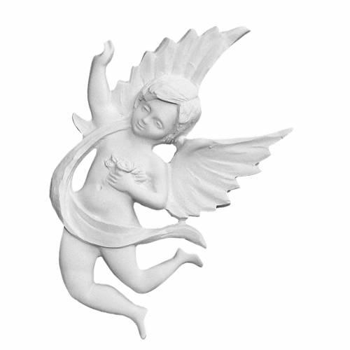 Bas relief ange avec rose 19 cm marbre reconstitué s1